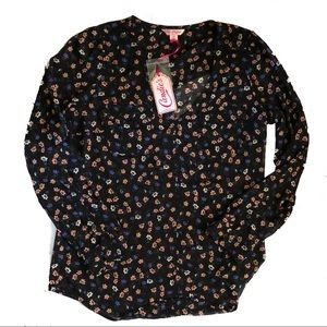 NWT Candie's Floral Chiffon Blouse Size Medium